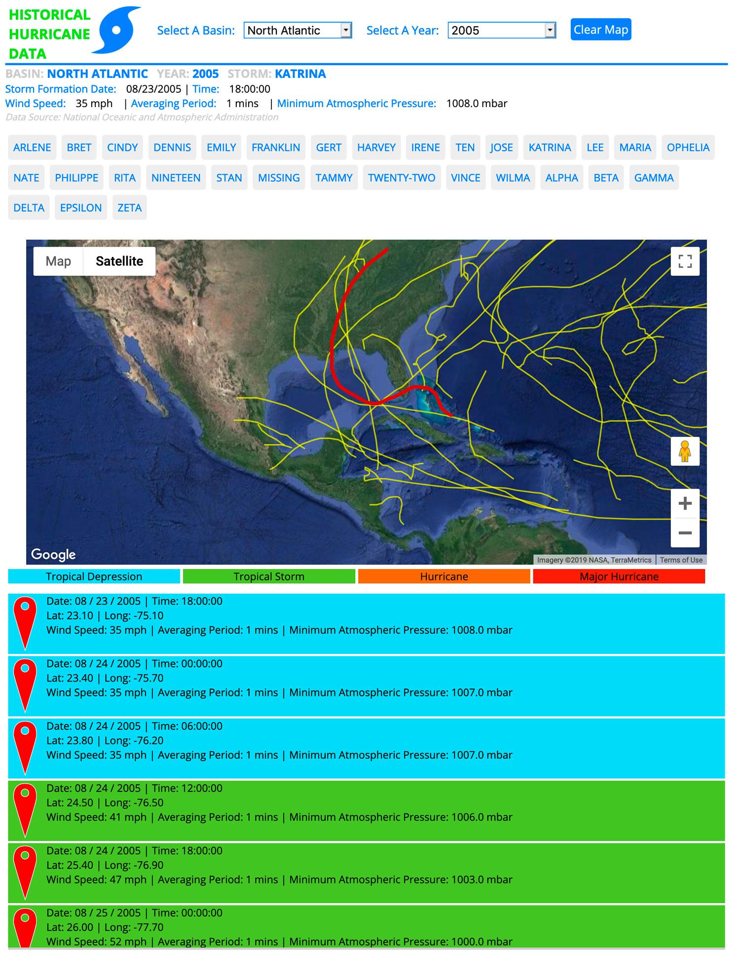 Current sceenshot of the Hurricane Tracker
